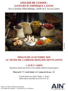 Affiche cours de cuisine 14 octobre aux planons